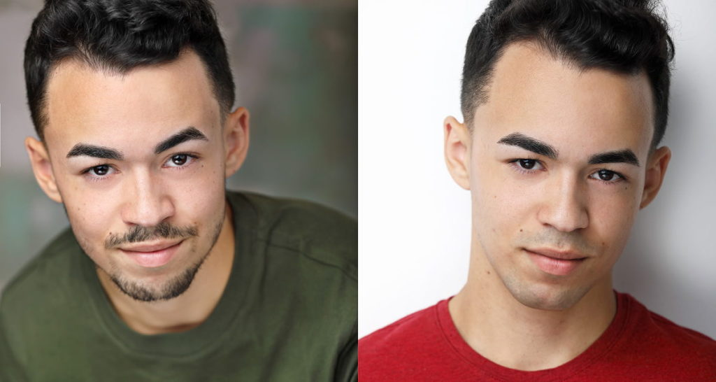 male headshot with and without facial hair